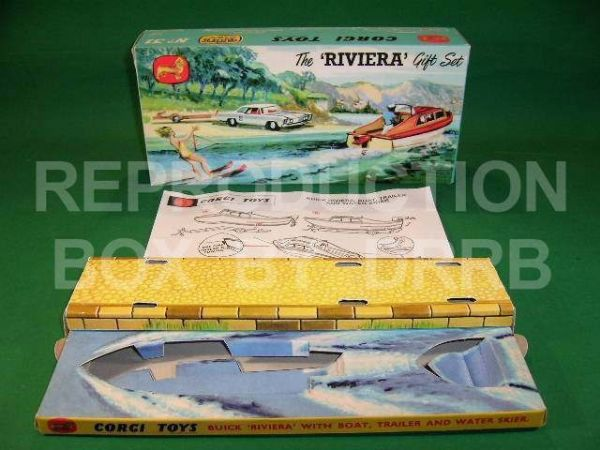 Corgi. Gift Set #31 The Riviera Set - Buick + Boat + Trailer etc - Repro Box